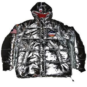 Champion NASA Limited Ed Puffer Jacket XL Silver